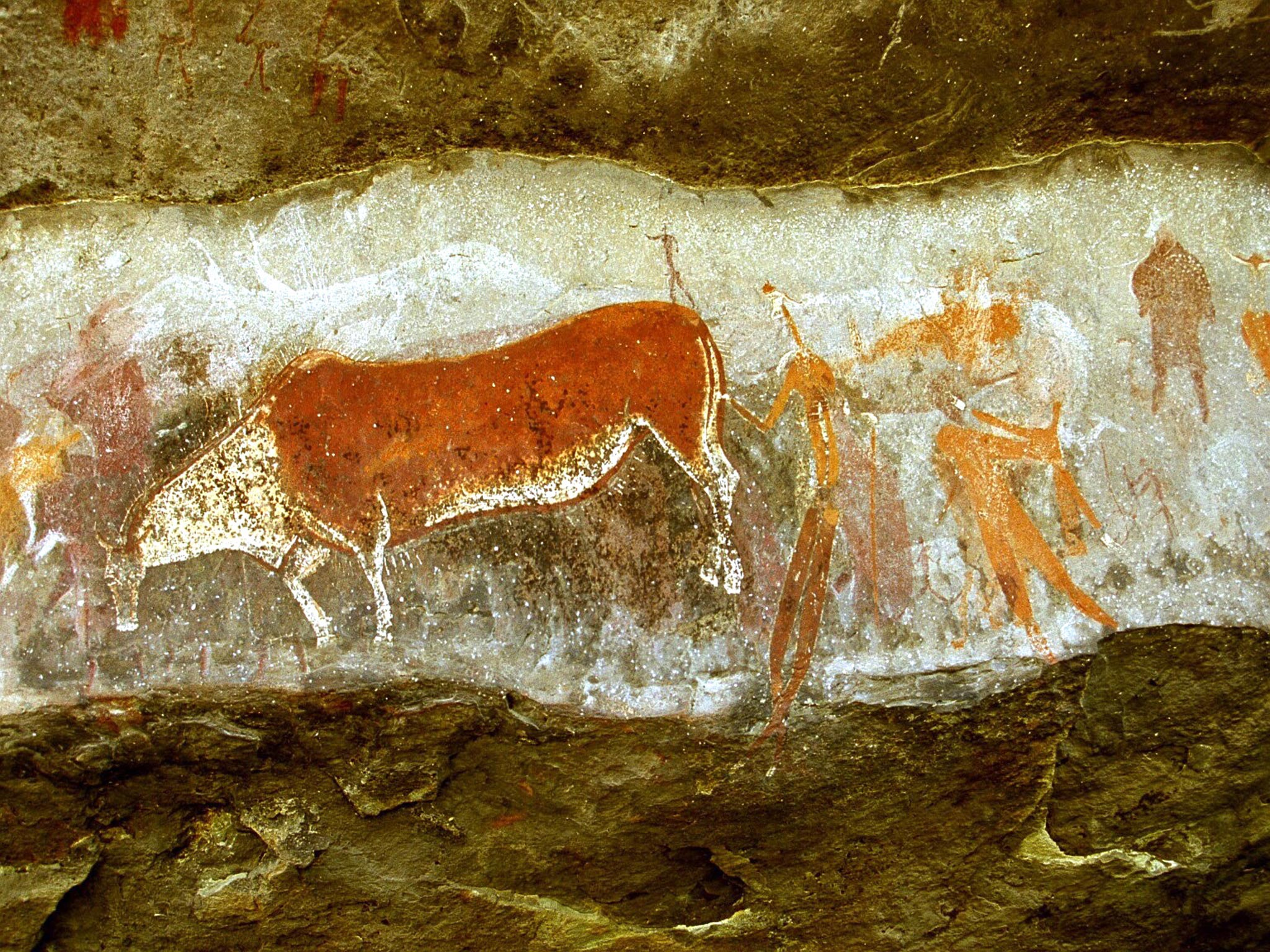 Bushman rock art at Kamberg at Game Pass Shelter
