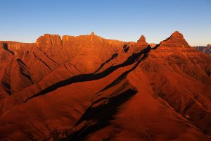 Drakensberg Mountains early morning at Monks Cowl