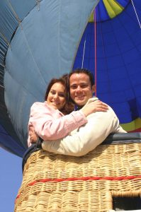 Romantic hot air balloon flight